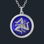 """Sicilian Trinacria in Silver Blue Silver Plated Necklace<br><div class=""""desc"""">Sicilian Trinacria in Silver Blue</div>"""