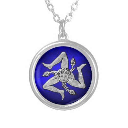 Sicilian Trinacria in Silver Blue Silver Plated Necklace