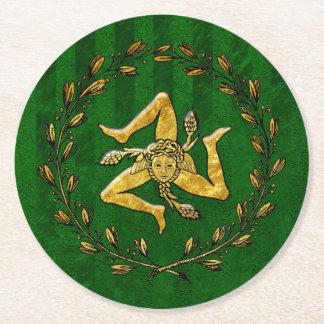 Sicilian Trinacria Olive Wreath Green Stripe Round Paper Coaster