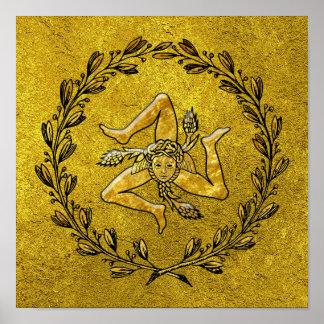 Sicilian Trinacria Olive Wreath in Gold Poster
