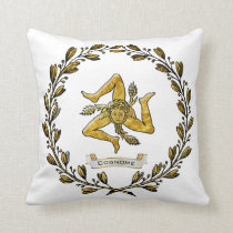 Sicilian Trinacria Olive Wreath Personalize Throw Pillow