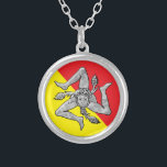 "Sicilian Trinacria Silver Flag Silver Plated Necklace<br><div class=""desc"">Sicilian Trinacria Silver Flag</div>"