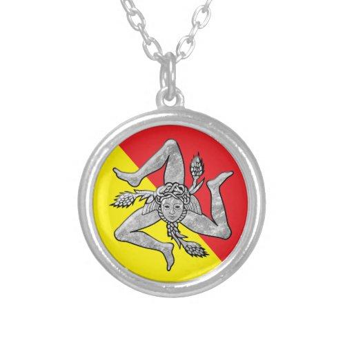 Sicilian Trinacria Silver Flag Silver Plated Necklace
