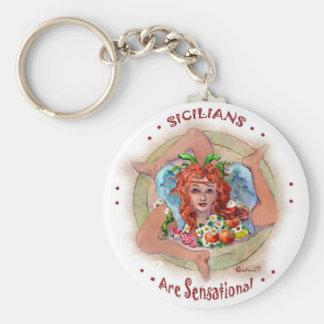 Sicilians are Sensational Basic Round Button Keychain