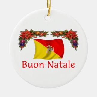 Sicily Christmas Ceramic Ornament