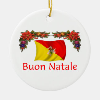Sicily Christmas Double-Sided Ceramic Round Christmas Ornament