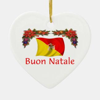 Sicily Christmas Double-Sided Heart Ceramic Christmas Ornament