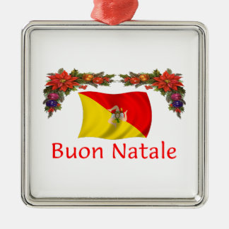 Sicily Christmas Square Metal Christmas Ornament