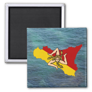 Sicily Flag & Island Magnet