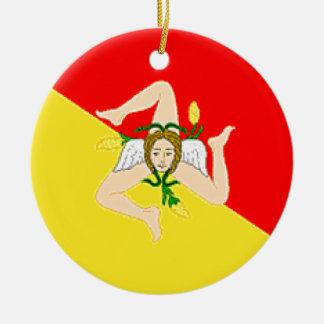 Sicily (Italy) Flag Christmas Ornaments