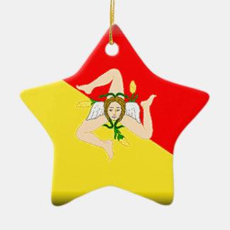 Sicily (Italy) Flag Christmas Tree Ornaments