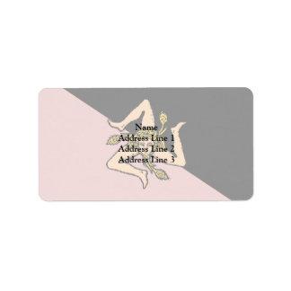 Sicily (Pink And Black), Italy flag Custom Address Label