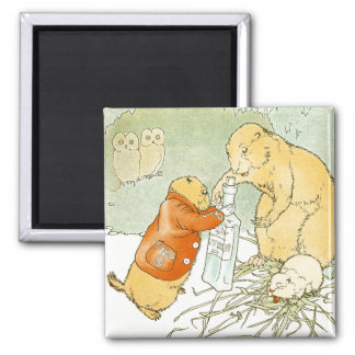 Sick Baby Prairie Dog Coughs 2 Inch Square Magnet