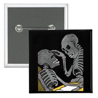 Sick Bed Skeleton vintage biutton Buttons