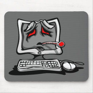 Sick Computer with Virus Cartoon Mouse Pad