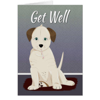 Sick Cream Colored Puppy for Get Well Card