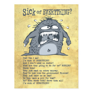 Sick Monster Funny Postcards