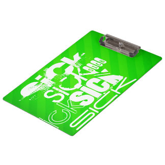 Sick; Neon Green Stripes Clipboard