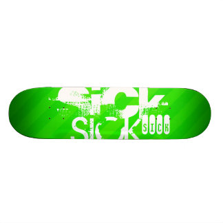 Sick; Neon Green Stripes Skateboard Deck