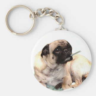 Sick pug with thermometer keychain