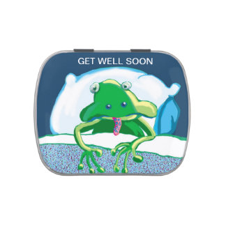 Sick sad frog - get well soon jelly belly tin