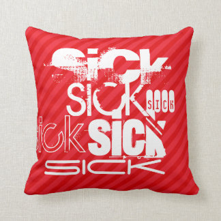 Sick; Scarlet Red Stripes Throw Pillow