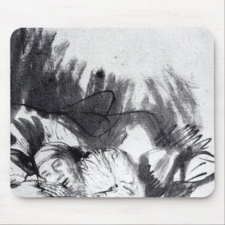 Sick woman in a bed, maybe Saskia Mouse Pad