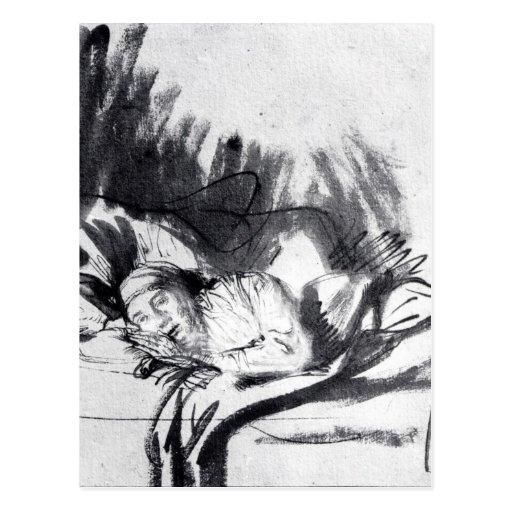 Sick woman in a bed, maybe Saskia Postcard