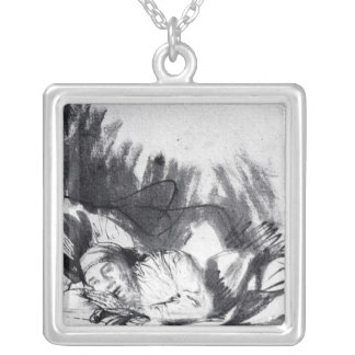 Sick woman in a bed, maybe Saskia Square Pendant Necklace