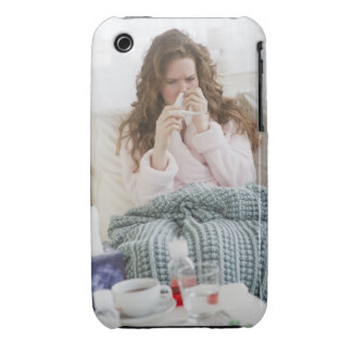 Sick woman on couch iPhone 3 Case-Mate cases