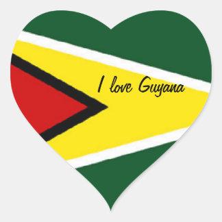 Sickers del corazón de Guyana Pegatina En Forma De Corazón