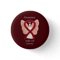 Sickle Cell Anemia Awareness Ribbon Angel Buttons