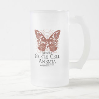 Sickle Cell Anemia Butterfly 16 Oz Frosted Glass Beer Mug