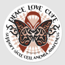 Sickle Cell Anemia Butterfly Tribal Classic Round Sticker