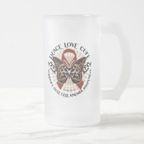 Sickle Cell Anemia Butterfly Tribal Frosted Glass Beer Mug