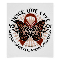 Sickle Cell Anemia Butterfly Tribal Poster