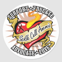 Sickle Cell Anemia Classic Heart Classic Round Sticker