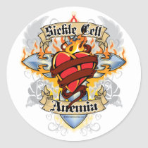 Sickle Cell Anemia Cross & Heart Classic Round Sticker