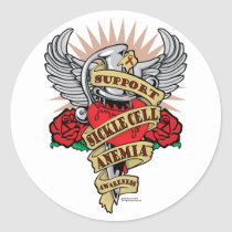 Sickle Cell Anemia Dagger Classic Round Sticker