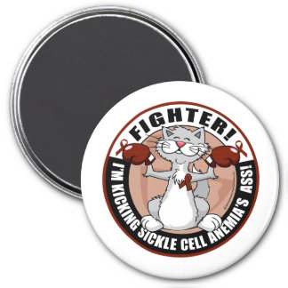 Sickle Cell Anemia Fighter Cat 3 Inch Round Magnet