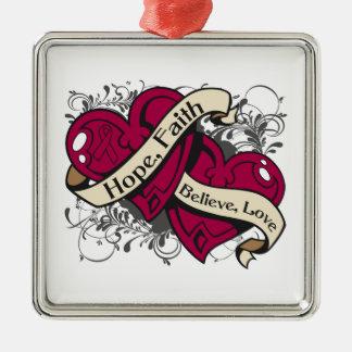 Sickle Cell Anemia Hope Faith Dual Hearts Christmas Ornament