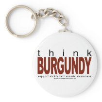 Sickle Cell Anemia THINK Burgundy Keychain