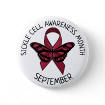 Sickle Cell Awareness Burgundy Ribbon Button