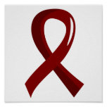 Sickle Cell Disease Burgundy Ribbon 3 Poster