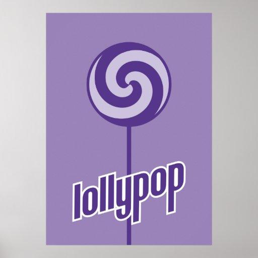 sickly sweet purple lollypop print