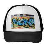 Sicko Graffiti on the Textured Wall Hats