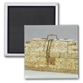 Siculo Arabic casket with animals 2 Inch Square Magnet