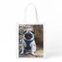 Sid the Pug Gifts and Tees Reusable Grocery Bag