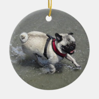 Sid the Pug's Beach Photo - Sid the Puggy Rocket Double-Sided Ceramic Round Christmas Ornament