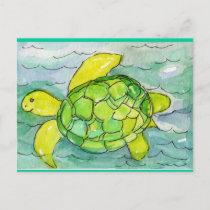 Sid the Silly Sea Turtle Original Watercolor Postcard